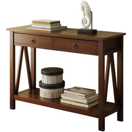31u0026quot; Rectangle Neutral Classic Antique Tobacco Finish Entry Table With  Two Drawers Hidden Storage Space
