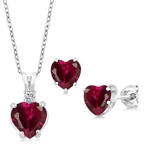 (Gem Stone King 3.70 Ct Heart Shape Red Created Ruby 925 Sterling Silver Pendant Earrings Set)