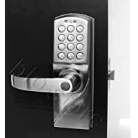 Left Handed Digital Keypad Door Lock with Backup Keys, Electronic Keyless Entry by Password Code Combination, Great for