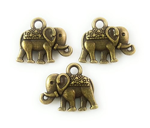Glass Elephant Charm (25pc Antique Brass Elephant Charms for Jewelry Making, Bracelets- Lead Free, Nickel Free (14mm))