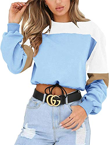 Womens Sweatshirt Long Sleeve Pullover Color Block Casual Drawstring Hem Crop Tops