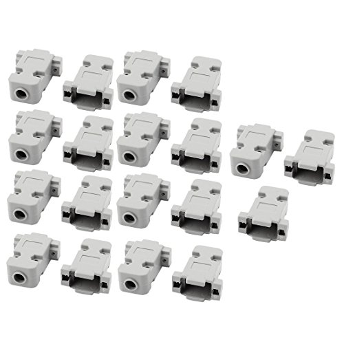 (uxcell 19 Pcs D-Sub DB9 9Pin Connector Plastic Hood Cover Housing Shell Gray)