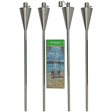 Patio Torch – 4 Pack - Outdoor Garden Oil Lamp Lanterns with Decorative Stainless Steel Canister and Stand Stake - 45 Inches Tall Each - Thick, 7.5  Long Lasting Fiberglass Wick - Includes 4 Torches