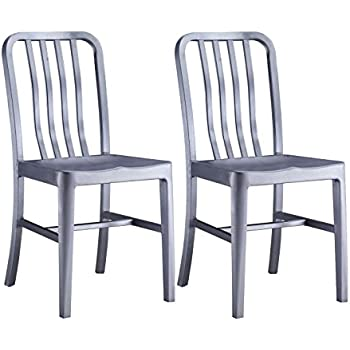 best service 6ce83 df756 Amazon.com - Alex Land Modern Stainless Steel Dining Chair ...