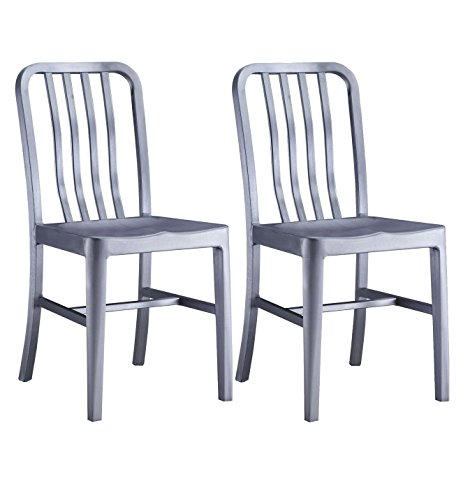 Alex Land Modern Stainless Steel Dining Chair - Indoor or Outdoor (Pack of 2), Standard Size W15.4