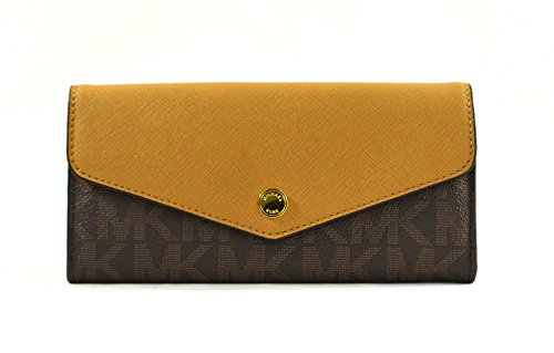 Michael Kors Greenwich Color Pocket Brown Signature Pattern Peanut - Logo Michael Kor