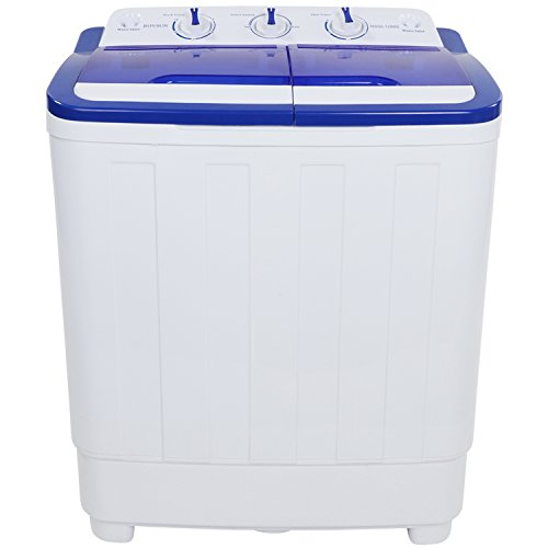 ROVSUN Portable Washing Machine with Twin Tub Electric Compact Mini Washer,Wash 11LBS+Spin 5LBS Capacity Energy/Space Saving, Laundry Spin Cycle w/ Hose,Perfect for Home RV Camping Dorms College Rooms