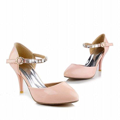 Carolbar Womens Elegance Fashion Shiny Rhinestone Buckle Charms Ankle Strap High Stiletto Heel Sandals Pink (Patent Leather) 90q6U7B
