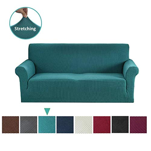 Argstar Jacquard Couch Cover Soft Elastic Sofa Slipcover Cyan (Sectional Teal Couch)
