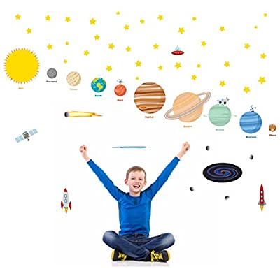 treepenguin Planets for Kids Room Decor - Educational Outer Space Solar System Wall Decals for Kids Rooms - Large Stars Sun & Moon Playroom and Bedroom Wall Decor Stickers for Boys