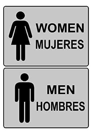 compliancesigns men women pvc restroom signs set 7 x 5 with english spanish