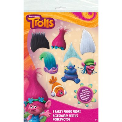 Unique Pack of 8 Trolls Photo Booth Props and Two Unique Packs of 3 Trolls 26 inches Hanging Swirl Decorations bundled by Maven Gifts