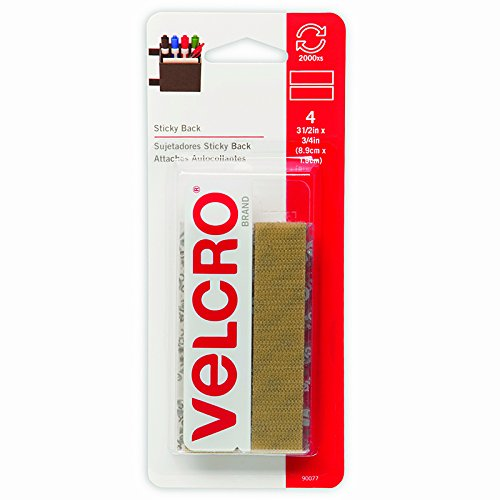 (VELCRO Brand - Sticky Back Hook and Loop Fasteners | Perfect for Home or Office | 3 1/2in x 3/4in Strips | Pack of 4 | Beige)