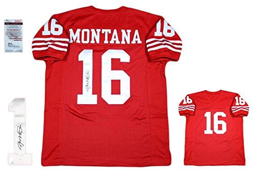 James Autographed Red Custom Jersey - Joe Montana Signed Custom Jersey - JSA - Autographed - Pro Style - Red