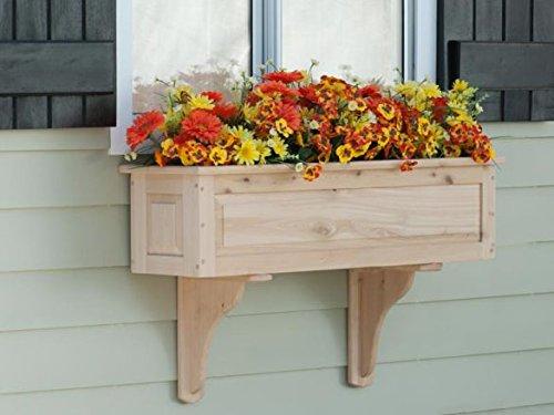 36in. Framed Panel Cedar Wood Planter with Cedar Wall Bracket (Cedarwood Window Box)