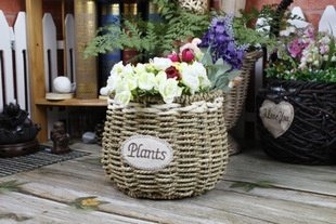 SEESUNG Straw Fleshy Flower Pot Straw Rope Weave Flower Basket, B by SEESUNG (Image #1)'