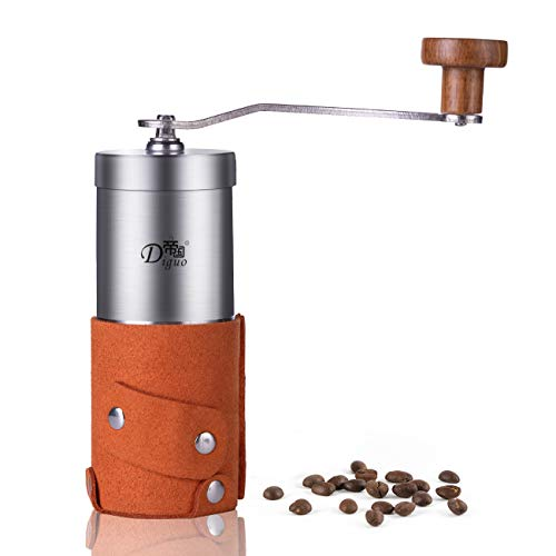 (SULIVES Premium Quality Portable Manual Coffee Grinder Stainless Steel Grinder Coffee Bean Hand Crank with Adjustable Ceramic Core - Bright Yellow)
