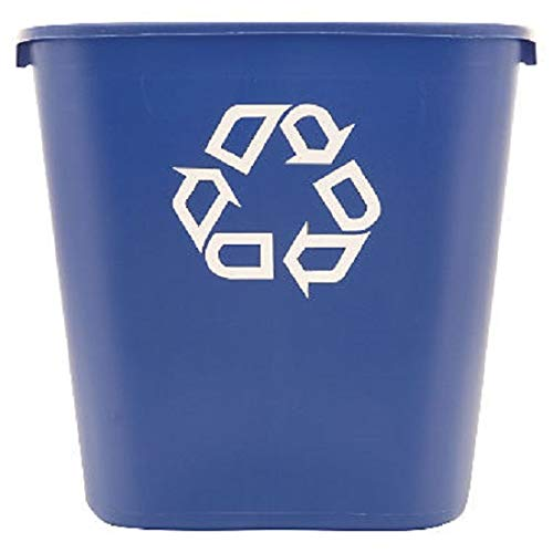 """Rubbermaid FG295673 Blue Medium Deskside Recycling Container with Universal Recycle Symbol, 28-1/8 qt Capacity, 14.4"""" Length x 10.25"""" Width x 15"""" Height, 2 Pack"""