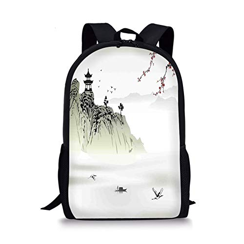 School Bags Asian Decor,Chinese Landscape Painting with the Temple on the Cliff and Flying Gulls over the Clouds,White Green for Boys&Girls Mens Sport Daypack]()