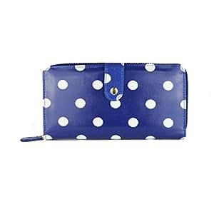 Miss Lulu Cartera de hule, con lunares, plegable cartera con cremallera, monedero Big Polka Dots Blue M