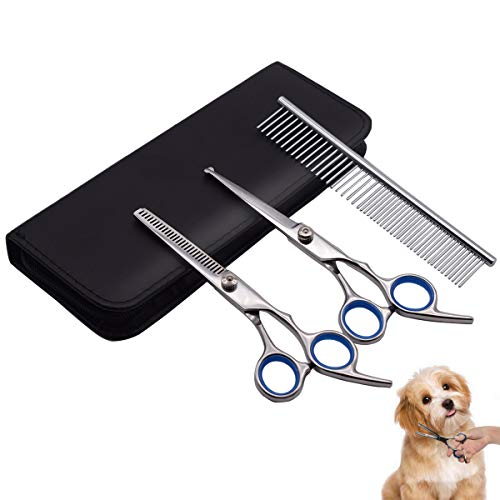 PetQoo Dog Grooming Scissors with Safety Round Tips, Heavy Duty Titanium Pet Grooming Trimmer Kit, Professional Thinning Shears, Straight Scissors with Comb for Dogs and Cats