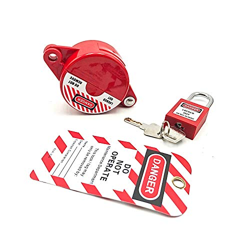 SAFBY Gate Valve Lockout for 1 inch to 2.5 inch, with Red Safety Padlock and Tag, Standard for Various Gas Storage Tanks, Gate Valves