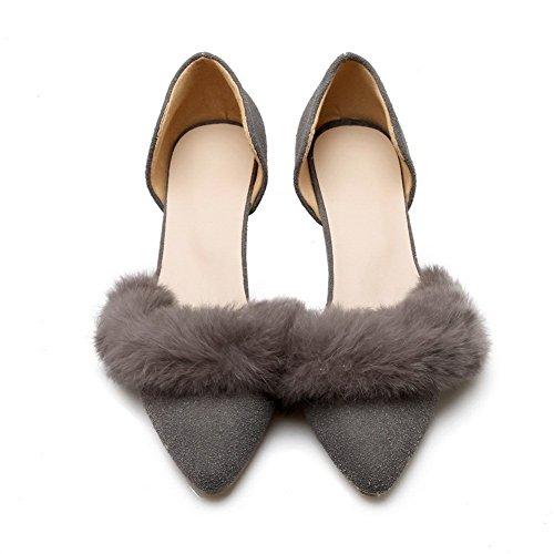 gris Pantalones heels Mujer esmerilado kitten bombas zapatos Adee Owq0O