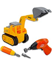 deAO Take-Apart Construction Truck Vehicle to Assemble Screw Driver and Electronic Drill Included (Digger Truck)