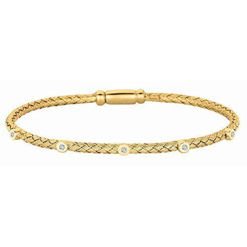 (Sterling Silver Gold-Flashed 2.9mm Basket Weave 0.05ct White Diamond Five Circle Bangle Bracelet)