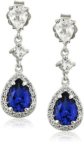 Rhodium Plated Sterling Silver Pear Shape Created Blue Sapphire and Created White Sapphire Drop Earrings