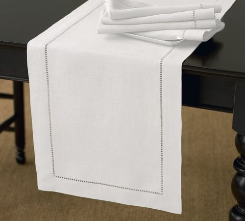 Handmade Basic Hemstitch Table Runner, 16X72 Rectangular, Various Colors (White)