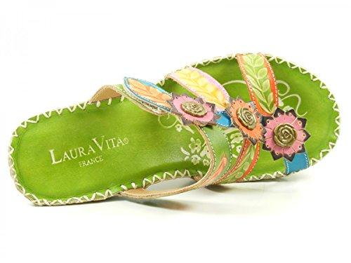 Laura Vita YF9919-6 Berault 06 Zuecos fashion de cuero mujer Grün