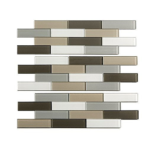 Aspect Peel and Stick Backsplash 12.5in x 4in Subway Rustic Clay Matted Glass Tile for Kitchen and Bathrooms (3-Pack)