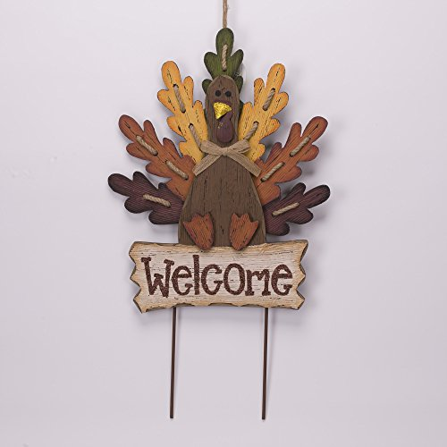 Glitzhome Burlap Wooden Autumn Turkey Welcome Sign or Yard Stake