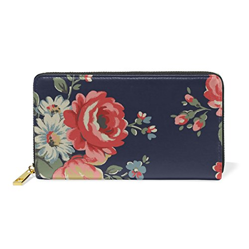Purses TIZORAX Wallet Clutch Zip Around Handbags Vintage Flowers Womens Leather And Organizer xCqaTUwC