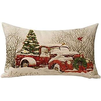Amazon Com Hl Hlppc Red Truck Christmas Tree Small Throw