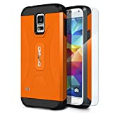 Galaxy S5 Case, OBLIQ [Xtreme Pro][Orange] + Screen Shield - Premium Slim Tough Thin Armor Fit Bumper Smooth Finish Dual Layered Heavy Duty Hard Protection Cover for Samsung Galaxy S5