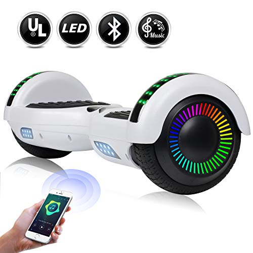 "EPCTEK 6.5"" Hoverboard for Kids Adults - UL2272 Certified Self Balancing Hover Board w/Bluetooth Speakers, LED Light"