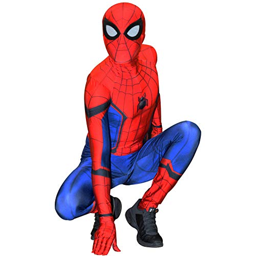 Unisex Lycra Spandex Costume Civil War Spiderman Costume for Kids and Adults Cosplay Best Halloween Costume Red-Blue -