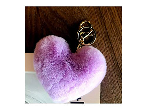 Ball Keychain Shaped - Purse Holder Soft Plush Ball Keychain Heart-Shaped Keyring Ladies Bag Car Ornaments(Red) Key Chain Decoration (Color : Violet, Size : 11x9cm)