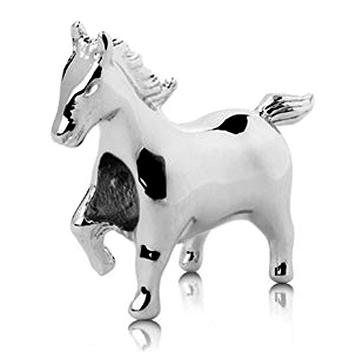 Jovana Sterling Silver Mustang Horse Bead Charm, Fits European Bead Charm Bracelet (Charm Silver Horse)