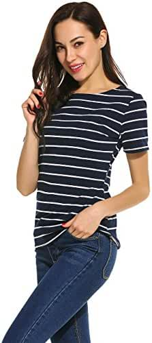 Women's Summer Short Sleeve Striped T-shirt Tee Tops Slim Fit Stripes Blouses