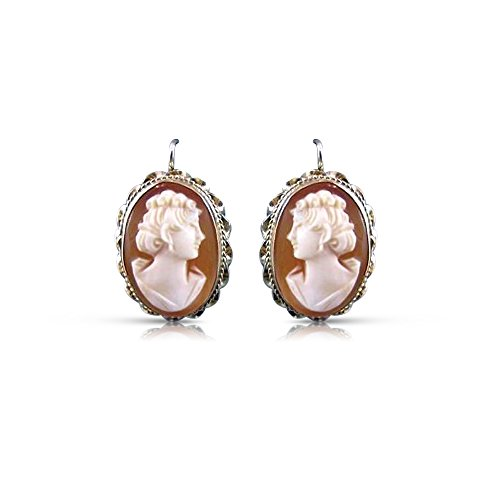 14K YELLLOW GOLD LADY SHELL CAMEO FILIGREE HANGING WIRE EARRINGS #19997