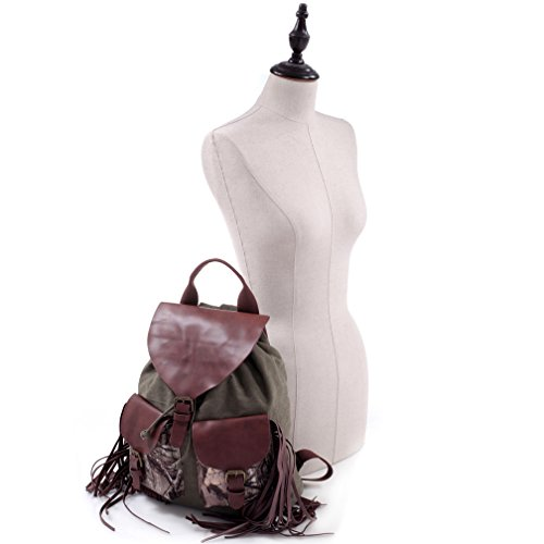 Realtree in Dasein Canvas Camouflage Fringe Backpack Khaki Camo Xg Purse FBxnxHqw