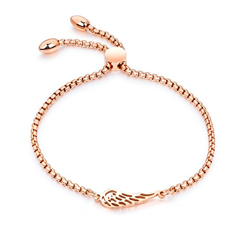 ♥Angel Wing♥ Charm Adjustable Bracelet Gold Plated Chain Stainless Steel Bangle Bracelets for women girls♥Valentine's Day (Chain Eternity Bracelet)