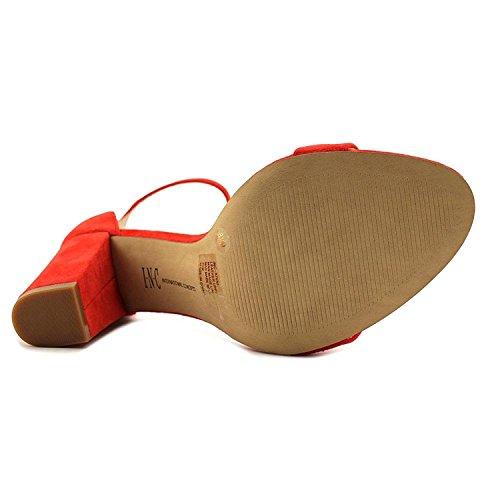 Inc Internationella Koncept Kvinna Kivah Läder Öppen Tå Speciellt Tillfälle Ank. Fjäder Röd