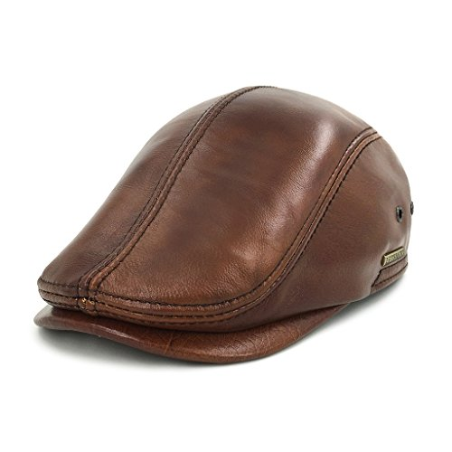 (LETHMIK Flat Cap Cabby Hat Genuine Leather Vintage Newsboy Cap Ivy Driving Cap Second Version Brown-XXL)
