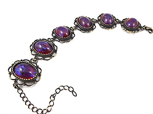 - Victorian Mexican Opal Dragons Breath Color Changing Link Bracelet in Silver or Bronze (Antique Bronze Bracelet)