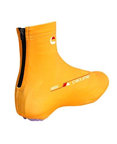 Fahrrad-Überschuhe - Männer Frauen Mountainbike-Überschuhe Winddicht Quick-Dry Anti-Rutsch-Zyklus-Schuh-Abdeckung Orange