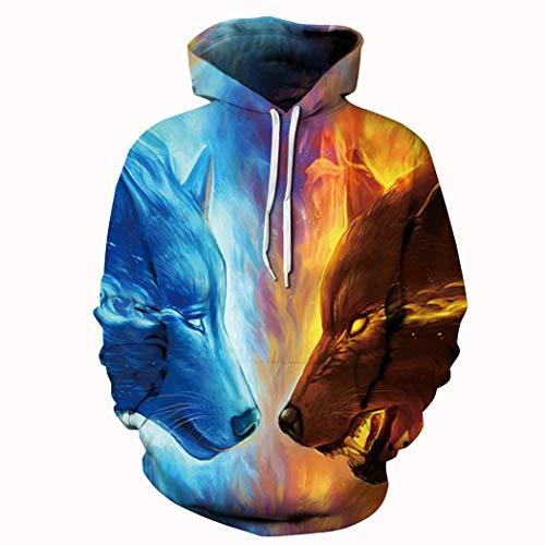 Unisex Realistic 3d Print Galaxy Pullover Hoodie Hooded Sweatshirt (XX-Large/XXX-Large, Wolf Gradient) ()